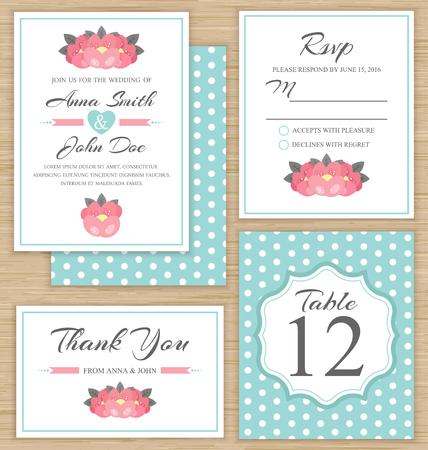 rsvp: Wedding invitation template, thank you card, RSVP card. Wedding set