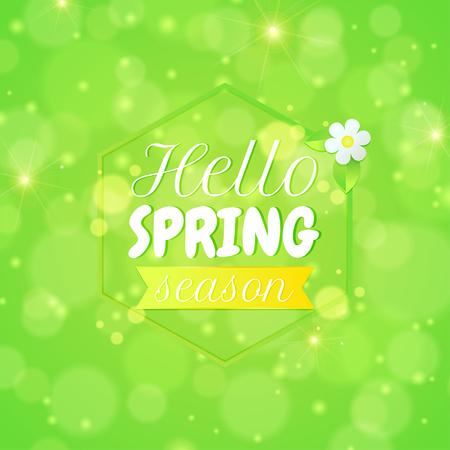 greeting season: Spring background with text hello spring season. Greeting card. Vector illustration Illustration