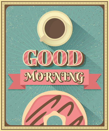 luncheon: Good morning with coffee and donut. Vintage vector illustration Illustration