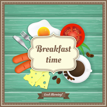 Wooden background with fried egg, sausage, coffee, tomato, cheese, fork and knife. Vector illustration