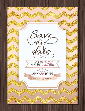 Save the date card.  Gold glitter chevron background. Vector illustration