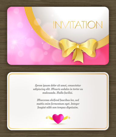 Invitation card with pink romantic background, back and front. Vector illustration