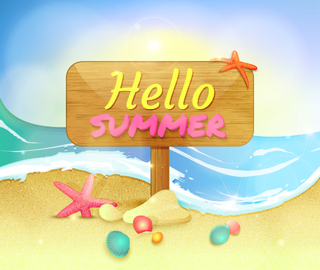 Summer holidays illustration. Summer background with starfishes and shells. Signboard on the beach with text Hello summer. Иллюстрация