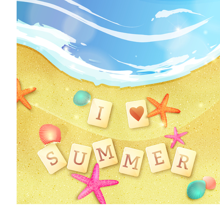 Summer holidays illustration. I love summer made of letter tiles on the sand with starfishes and shells. Иллюстрация