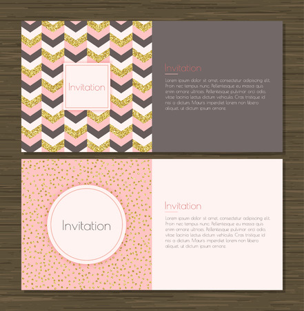 Invitation card with gold glitter chevron background, back and front. Invitation card with gold glittering confetti on pink background. Иллюстрация
