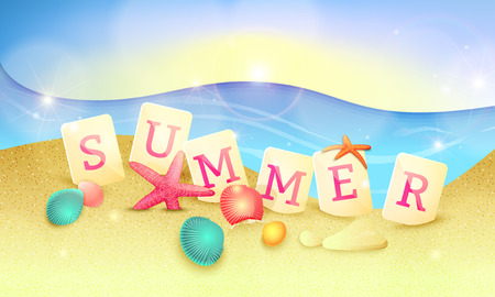 Summer holidays illustration. Word summer made of letter tiles on the sand with starfishes and shells.