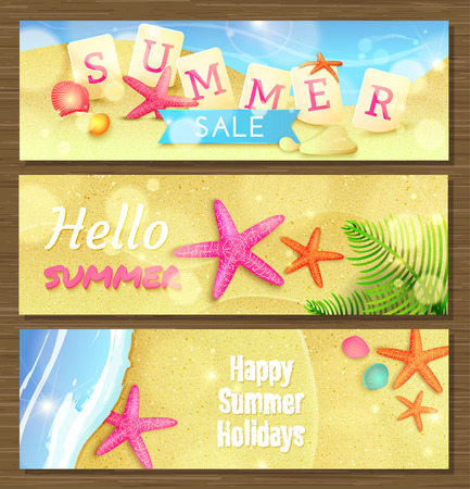 Three summer holidays and travel banners with starfishes and shells on sand.