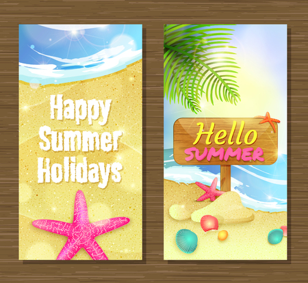 Summer holidays and travel banners with starfishes and shells on sand.