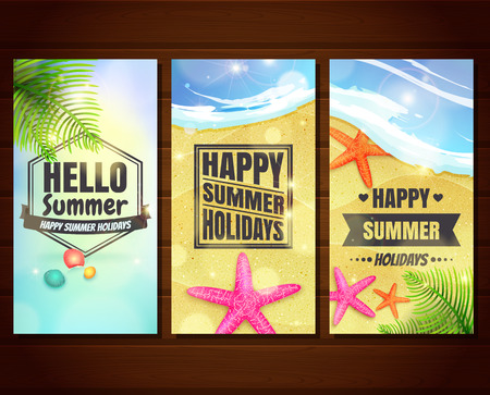 Three summer holidays and travel banners with starfishes, shells, and palm leaves on sand. Vector illustration