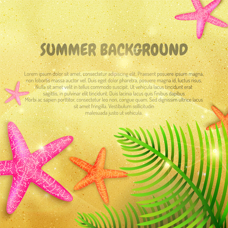 Summer background with starfishes and palm leaves on sand with place for text. Vector illustration