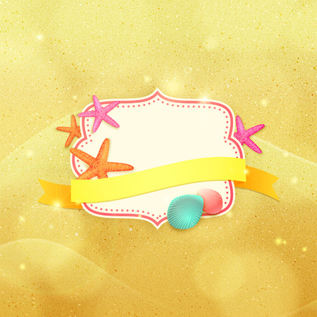 Summer frame with place for text. Summer vector background with ribbon, starfishes and shells