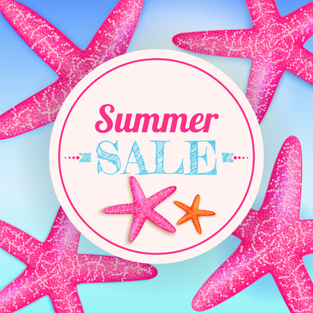 Summer sale. Summer background with starfishes. Vector
