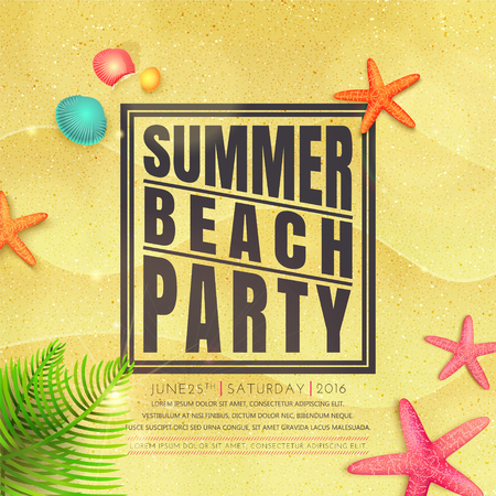 Summer beach party flyer. Summer background. Starfishes and palm leaves on sand. Vector Иллюстрация