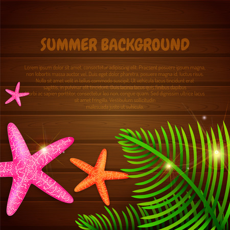 Summer background with starfishes and palm leaves with place for text. Vector illustration Иллюстрация