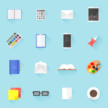Vector set of flat style icons with school and office supplies Иллюстрация