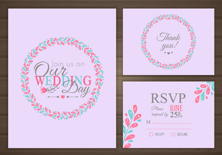 Wedding set. Wedding invitation, thank you card, RSVP. Vector illustration Иллюстрация