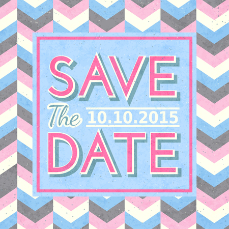 Retro save the date card. Vector illustration