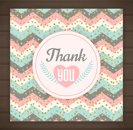 Thank you card with chevron background. Vector illustration Иллюстрация