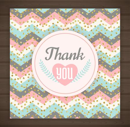 chevron background: Thank you card with chevron background. Vector illustration Illustration