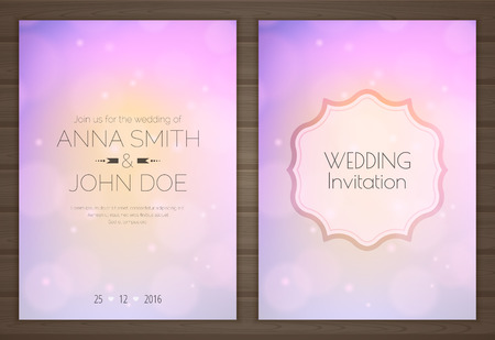 Wedding invitation card with soft romantic purple background, back and front.