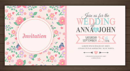 cute wedding invitation card, back and front