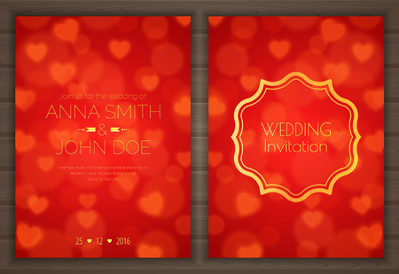 Invitation card with red romantic background Иллюстрация
