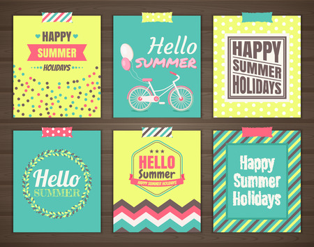 Summer holidays cards set of six bright summer cards