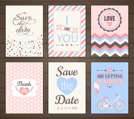 Set of romantic cards collection of six romantic cards. Wedding invitation, thank you card, save the date.