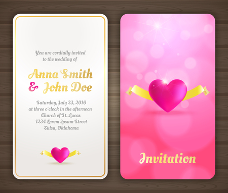 Wedding invitation card with pink romantic background, back and front.