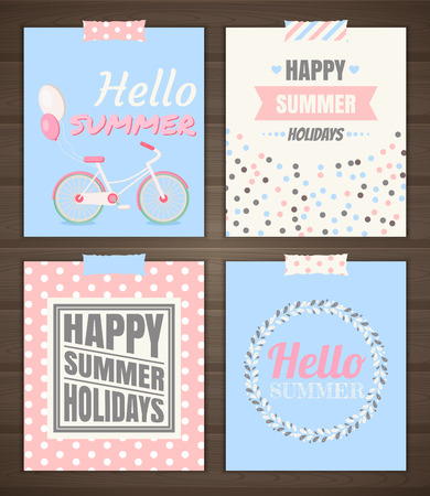 Summer holidays cards set of summer cards