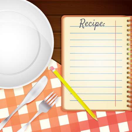 Template for a cookbook. Plate, fork and knife. Red checkered tablecloth on wooden table. Cooking Notebook.