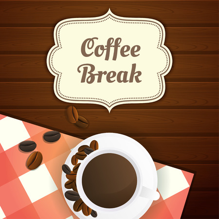 Coffee break illustration with cup of coffee and coffee beans, red checkered tablecloth on wooden table. Wooden background.