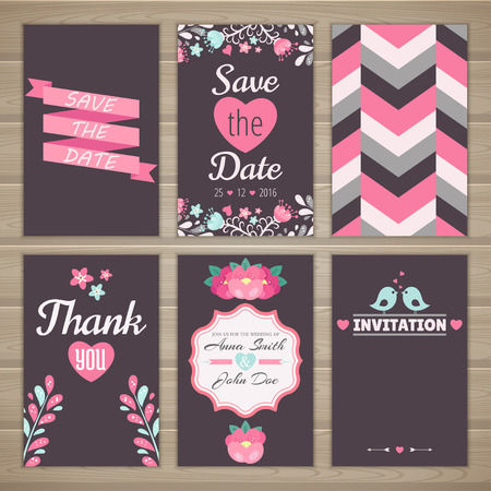 romantic date: Set of wedding romantic cards. collection of six romantic cards. Wedding invitation, thank you card, save the date.