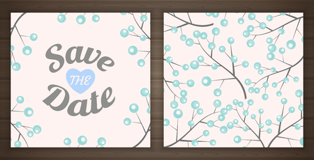 Save the date card, back and front, illustration Иллюстрация