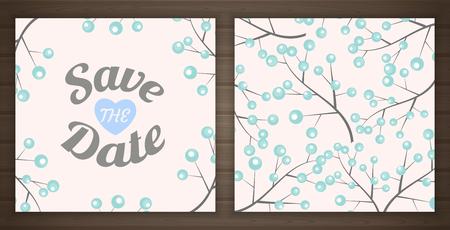 date fruit: Save the date card, back and front, illustration Illustration