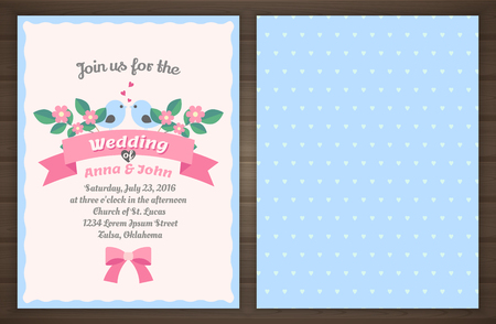 wedding invitation card, back and front,  illustration Иллюстрация