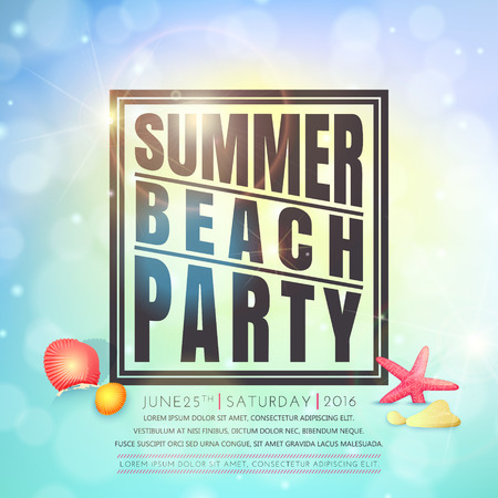 Summer beach party . Summer background. Иллюстрация