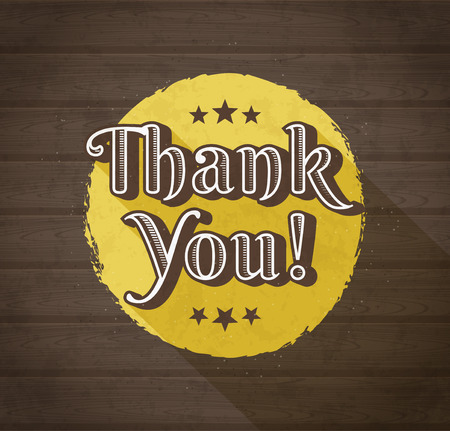 Thank you typographic design in retro style. Vector illustration.