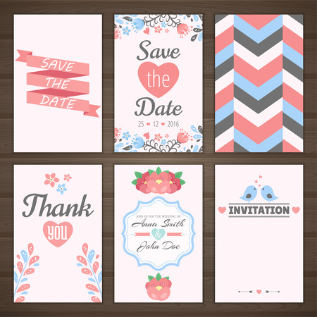 Set of wedding romantic cards. Vector collection of six romantic cards. Wedding invitation, thank you card, save the date.