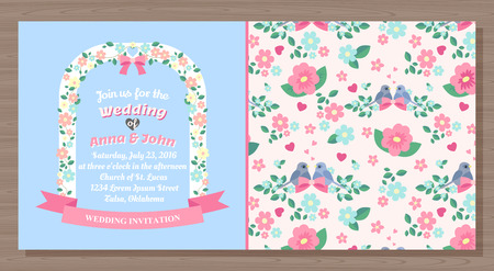 wedding invitation card, back and front, vector illustration