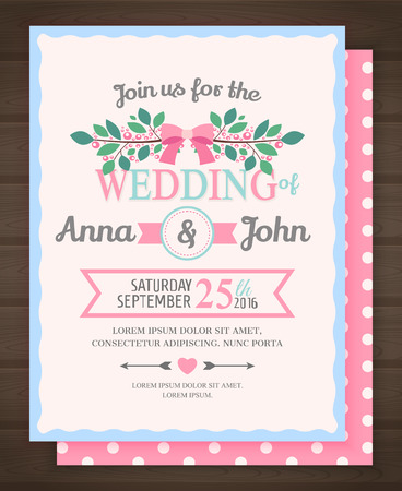 wedding invitation card, back and front, illustration