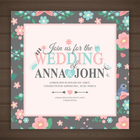 wedding invitation card, illustration