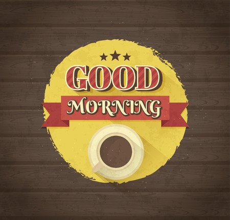 Good morning typographic design. Vintage vector illustration.