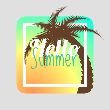 Hello summer. Summer card. Summer background. Summer design illustration