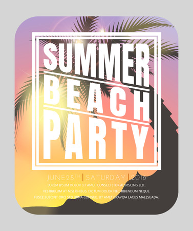 Summer beach party . Hello summer. Summer card. Summer background. Summer design illustration Иллюстрация