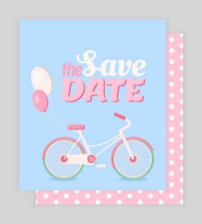 Save the date card, back and front, vector illustration