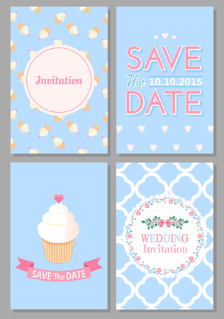 Set of wedding romantic cards. Vector collection of four romantic cards. Wedding invitation. Save the date. Иллюстрация