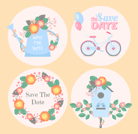romantic date: Set of wedding romantic cards. Vector collection of four romantic cards. Save the date cards Illustration