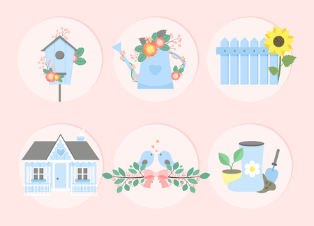 Garden set. Nesting box, watering can with flowers, fence with sunflower, country house, branches with birds, garden tools, rubber boots. Vector illustration