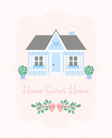 Home sweet home illustration. Vector flat house Иллюстрация